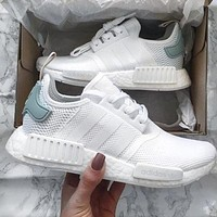 Adidas NMD Popular Women Men Casual Sports Running Shoes White Mint Green Logo I
