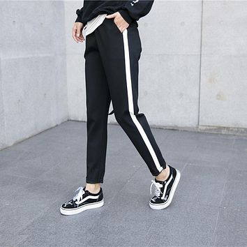 Leather Striped Pants