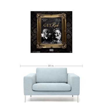"Soulja Boy & Rich The Kid - Get Rich [SINGLE] 20"" x 20"" Premium Canvas Gallery Wrap Home Wall Art Print"