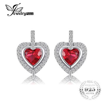 JewelryPalace Romantic 2.4ct Created Ruby Love Heart Stud Earrings For Women Gift 925 Sterling Silver Luxury Brand Fine Jewelry