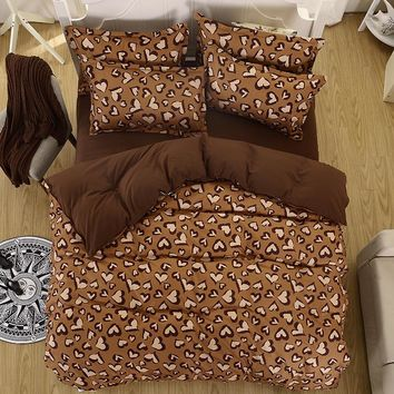 Spring bedding set super king size duvet cover leopard bedding 3/4pcs bed set V pattern bed linen flat sheet Adult bed set 5size