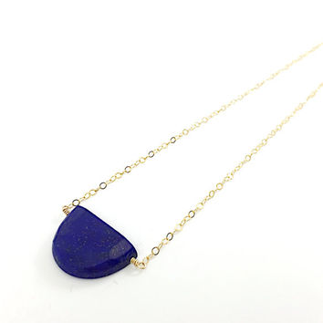 Lapis Lazuli Necklace, Half Moon, Blue, Navy gemstone, Crescent, Healing Crystal, Wire Wrapped Semi-Precious Stone, 14k Gold Filled Chain