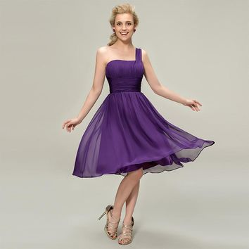 One shoulder bridesmaid dresses dark purple sleeveless knee length a line gown lady wedding party custom bridesmaid gown