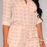 Coral Checked Print Long Sleeve Romper