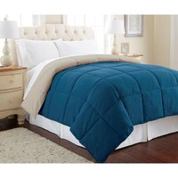 Amrapur Down Alternative Reversible Comforter In Celestial Blue And Oatmeal