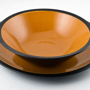 Mikasa Terra Stone Paprika Chop Plate and Serving Bowl, Pattern 7158