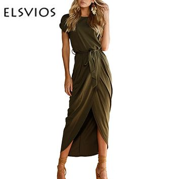 *Online Exclusive* Split Maxi Dress  with Waist Tie