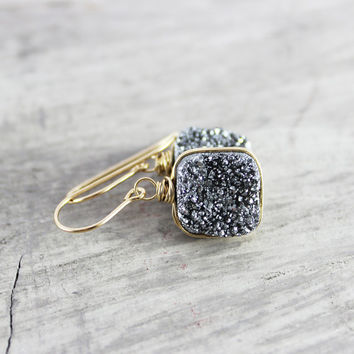 Silver Druzy Quartz Earrings, Wire Wrap Earrings, Gold Fill Earrings, Drusy Gemstone Earrings, Wire Wrapped, Silver and Gold, Platinum