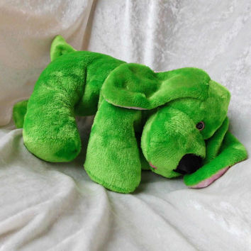 Apple Green Floppy Puppy Springtime ultrasoft cuddly - handmade OOAK basset dachshund beagle doxie dog - soft toy stuffed animal Home Decor
