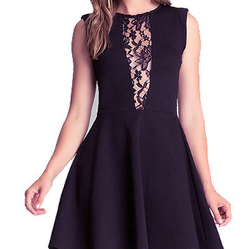 Black Sleeveless Lace Trimmed Skater Dress