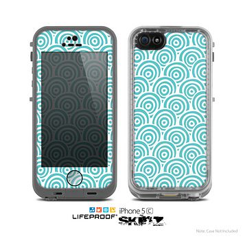 The Aqua Blue & White Swirls Skin for the Apple iPhone 5c LifeProof Case