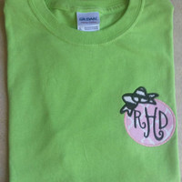 Adult or youth monogrammed tee with appliqued frame and bow. Can use initials or greek letters. Sorority-Gift- Game Day