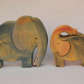 MOM ELEPHANT and her BABY set / Handmade Wooden Toy Waldorf Inspired