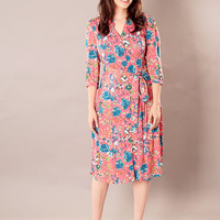 Coral Red modest A - line buttoned dress with floral print and belt