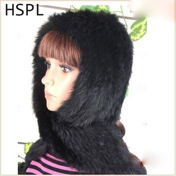 LMFCI7 HSPL Hot Sale Warm Rabbit Fur Hat With Scarf - Keep Warm In Windy And Snow In Winter