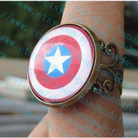 The Avengers America captain shield pendant , ring-Color epoxy style adjustable ring