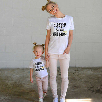 Blessed to be Her Mom Daughter Family Matching Shirt Casual T-shirt Tops Clothes Outfits Casual Tshirt