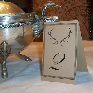 Wedding Table Numbers  Antler Deer ,Stag , Elk, LARGE Seating Cards in Kraft Set of 12  Rustic Woodland Forest Wedding Vintage Inspired