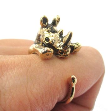 Rhino Rhinoceros Animal Wrap Around Ring in Shiny Gold | US Size 5 to 10 Available