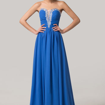 Blue Mesh Beaded Plunged V-Neck  Maxi Dress