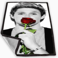Niall Horan with rose Blanket for Kids Blanket, Fleece Blanket Cute and Awesome Blanket for your bedding, Blanket fleece **