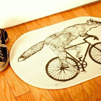 Screenprint RUG - Fox on Bicycle - Door mat or bath mat