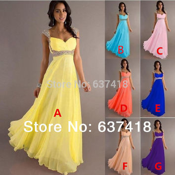 In Stock Chiffon Bridesmaid Dress Prom Party Dress with Sequins and Beads Lace up Back Junior Bridesmaid Dresses