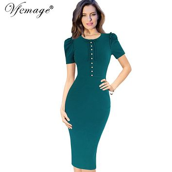 Vfemage Womens Elegant Vintage Retro Button Bowknot Casual Work Office Party Pencil Sheath Dress 4660