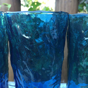 vintage glassware peacock blue, turquoise blue tall crinkle glasses, vintage blue glasses, vintage UCAGCO Italian 14 oz tumblers, wedding