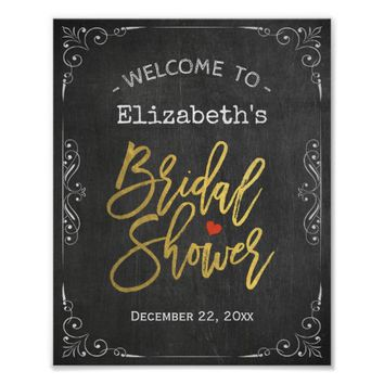 Bridal Shower Welcome Sign Gold Script Chalkboard Poster