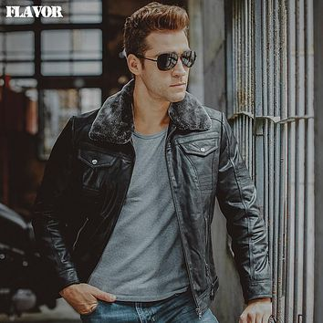 Men's real leather jacket fur collar Genuine Leather motorcycle jackets winter warm coat