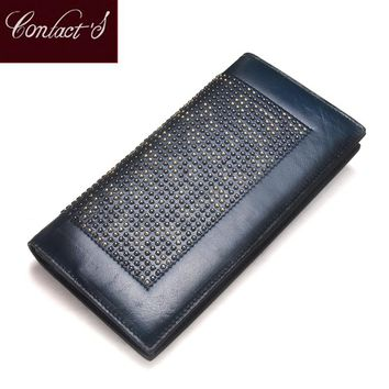 Contact's Handmade Women Clutch Wallet 2017 Genuine Leather Women Wallet High Quality Brand Design Fashion Ladies Business Purse