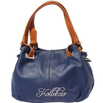 Italian Calf Skin Blue Genuine Leather Shoulder Bag