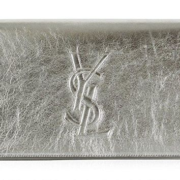 Saint Laurent Ysl Belle Du Jour Large Silver Metallic Clutch Bag 361120