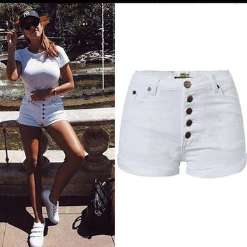 YiQuanYiMei Summer Fashion Casual white denim shorts for women shorts jeans short pants jean