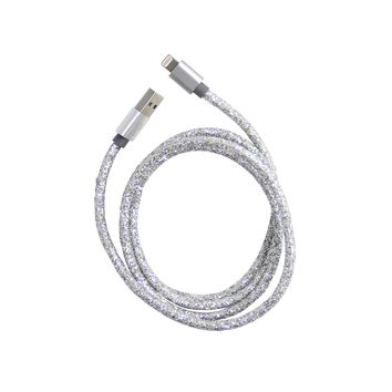 USB Glitter Cable for iPhone™: Silver