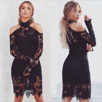 Black Cutout Shoulder Lace Dress