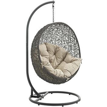 Hide Outdoor Patio Swing Chair With Stand Gray Beige EEI-2273-GRY-BEI