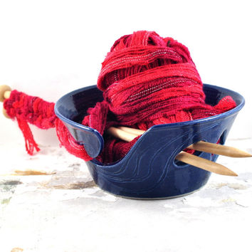 Ceramic Yarn Bowl Cobalt Blue Handmade Pottery Gift for Knitters Crochet Knitting & Knitting Organizer and Storage by DeeDeeDeesigns