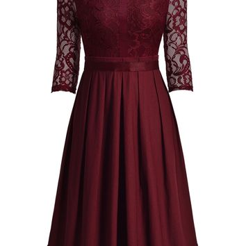 Vintage Cocktail Party Lace Pleated Swing Dress