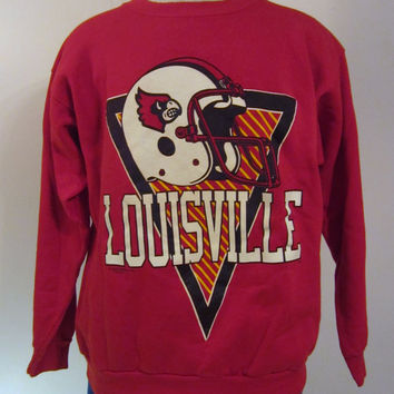 Vintage Amazing 80s LOUISVILLE CARDINALS FOOTBALL College Graphic Large Red Warm 50/50 Crewneck Sweatshirt