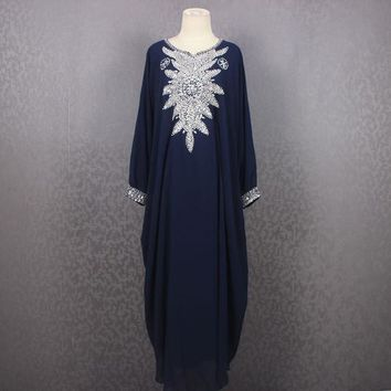 Plus Size Caftan Maxi Dress, Maxi Kaftan Gowns Dresses, Navy Moroccan Dubai Abaya Maxi Caftan Dress, Very Fancy Sequin Caftan Dress