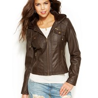 Krush Faux-Fur-Lined Hooded Faux-Leather Jacket