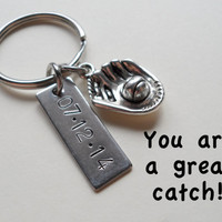 Baseball Mitt Keychain, Couples Keychain, Anniversary Key Ring Gift, Date or Initials Hand Stamped, Husband Wife Girlfriend Boyfriend Gift