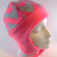 Reversible Girls Neon Pink and Gray, Fleece ear flap hat, double layer, with braided ties, fits most teens and women