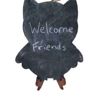 Owl Chalkboard, Message Board, Menu Chalkboard, Kitchen Decor, Wood Plaque, Home Decor, Decorative Sign, Gift for Her, Drawing Board