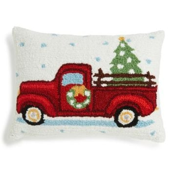 Peking Handicraft Highway Christmas Tree Truck Hooked Accent Pillow | Nordstrom