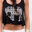 Safari Sounds Aztec Elephant Print Black Crop Top