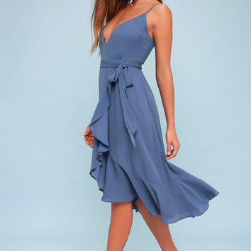 Manhattan Moment Blue Ruffled Midi Wrap Dress
