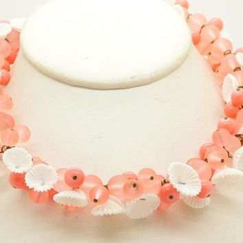Peach Glass Beads and White Flowers Necklace